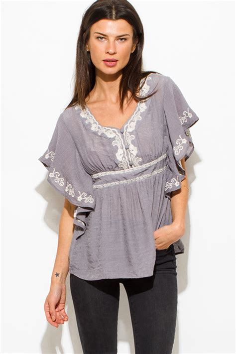 Patchwork Baby Doll Empire Waist Blouse Top by Peasant Blouse Empire Waist Chiffon Blouse Pink