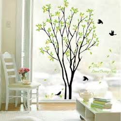 Temporary Wall Stickers Green Beautiful Tree And Bird Room Decor Art Decals Vinyl