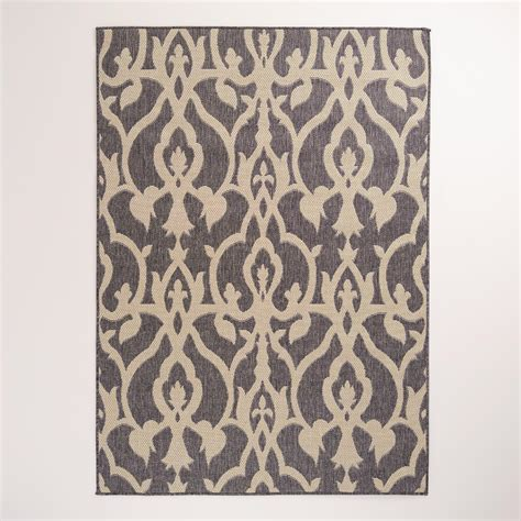 World Market Outdoor Rugs 5 X7 Lattice Charcoal Indoor Outdoor Rug World Market