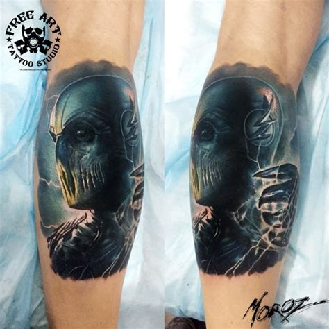 flash tattoo qatar awesome detailed and colored leg tattoo of evil zoom form