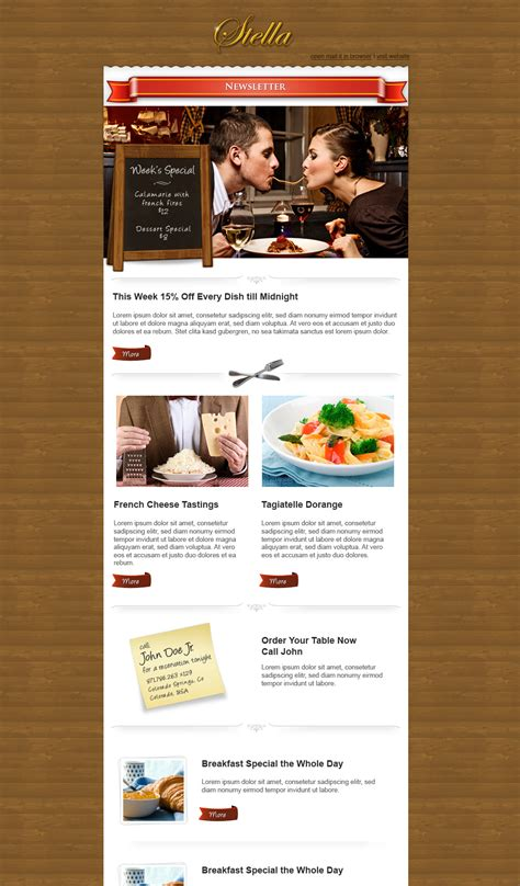 restaurant newsletter template by thebebel on deviantart