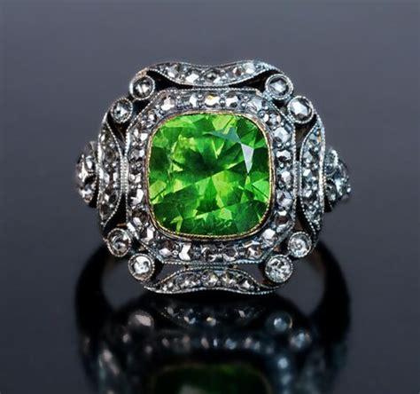 Sparsatine Garnet 5 84 Ct 4 ct demantoid deco engagement ring
