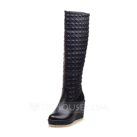 s patent leather wedge heel knee high boots shoes