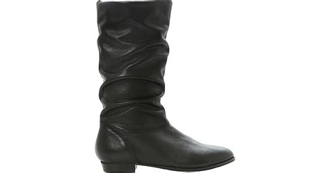 dune relissa slouchy leather boots in black lyst