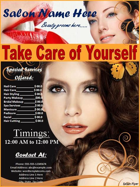 free salon flyer templates hair salon flyer templates free