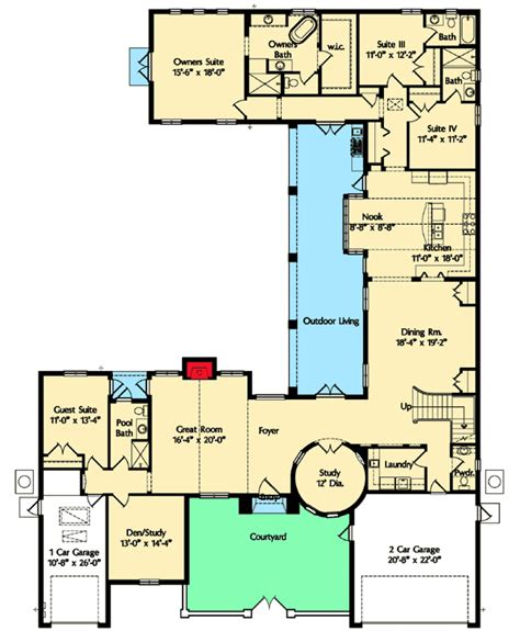 spanish floor plans spanish courtyard home plan 42828mj architectural