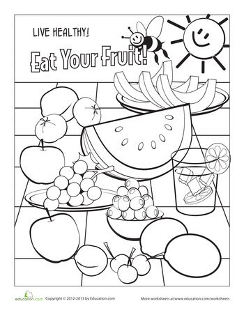coloring pages for food safety food coloring page fruit worksheets food and school