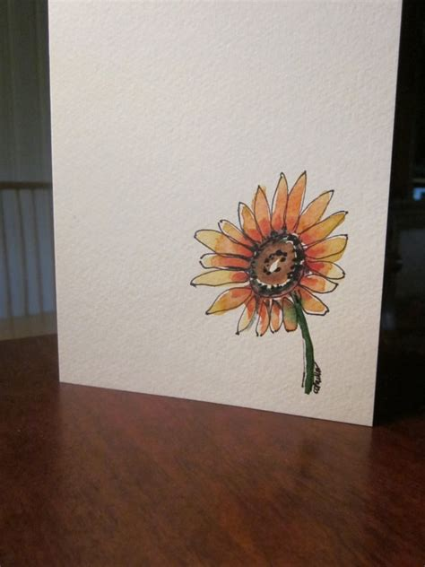simple sunflower watercolor card 3 50 via etsy