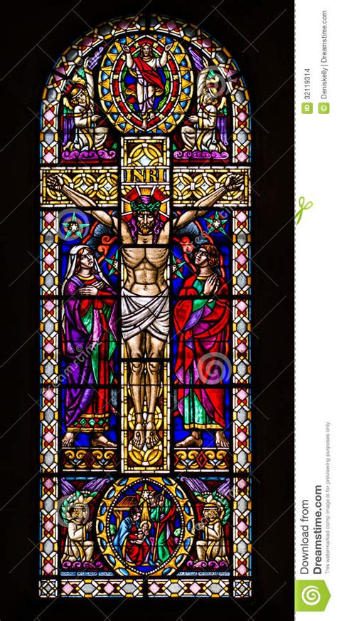 stained glass cross l jesus on the cross stained glass window stock photo