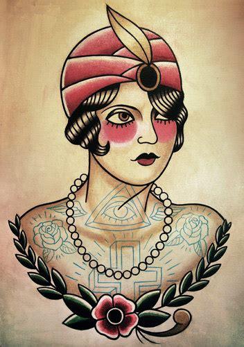tattoo flash gypsy fortune teller flapper traditional tattoo by
