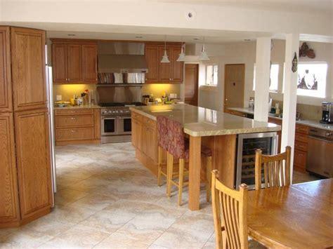 tiled floors  light oak cabinets solid oak cabinets