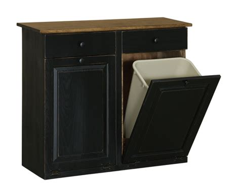 kitchen trash cabinet double trash cabinet with raised panel drawer carriage