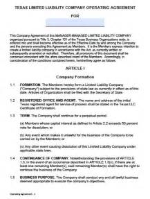 download texas llc operating agreement template wikidownload