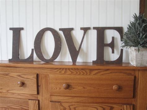 love sign home decor wooden sign rustic wooden sign white rusty wood letters love sign wall art rustic 10 quot wedding
