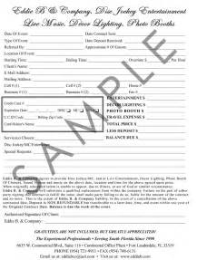 wedding contract templates doc event planner contract exle event planner