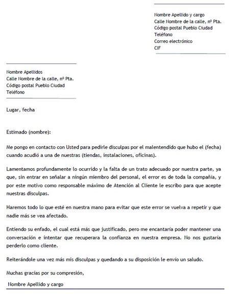 ejemplo carta de disculpa ejemplo de carta de disculpa por mal servicio carta de