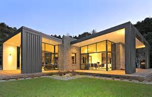 modern home design 3 glass cubed volumes sheltered under roof define sustainable home modern house designs