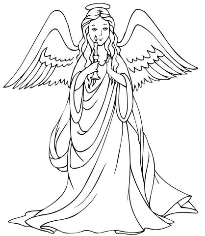 christmas angel with candle coloring page free printable