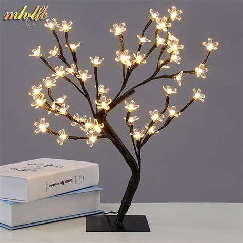 led crystal cherry blossom tree light night lights table