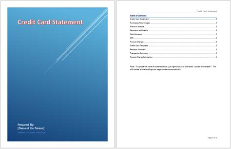 statement card template credit card statement template microsoft word templates