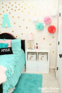 Pink Polka Dot Wall Stickers tween girls bedroom makeover giggles galore