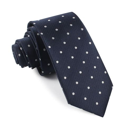 midnight blue with white polka dots tie slim