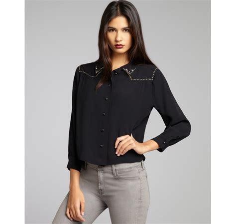 down blouses for 2013 video star travel international down blouses for isabel marant black star studded shoulder button down