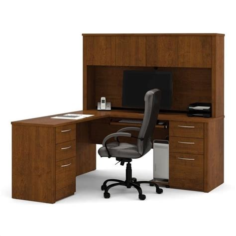 L Shaped Wood Computer Desk Bestar Embassy L Shape Home Office Wood Set W Hutch Tuscany Brown Computer Desk Ebay