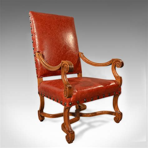 antique leather armchair large antique leather armchair walnut frame french