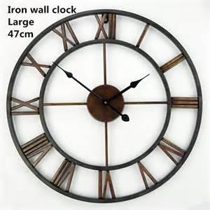 decorative wall clock handmade oversized 3d retro roman wrought iron vintage