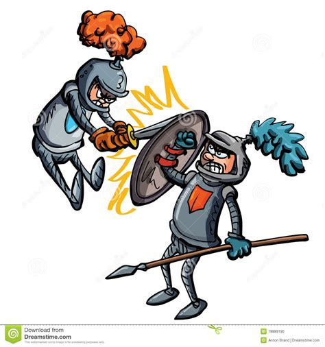 vetor de dois cavaleiros imagens de stock royalty free luta de dois cavaleiros dos desenhos animados foto de
