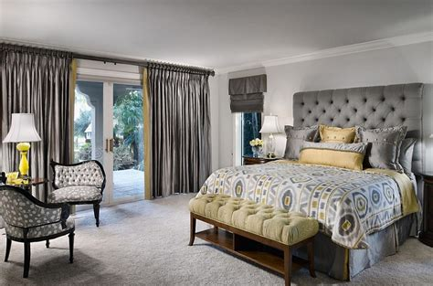 Geometric Pattern Drapes Cheerful Sophistication 25 Elegant Gray And Yellow Bedrooms