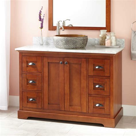 Cherry Bathroom Vanities 48 Quot Reni Vessel Sink Vanity Light Cherry Bathroom