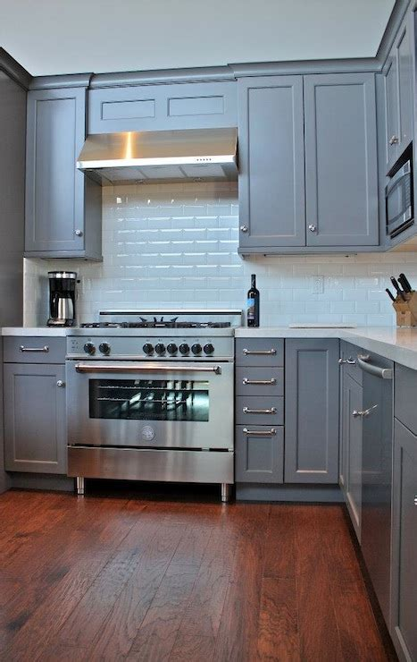 gray cabinets transitional kitchen william design
