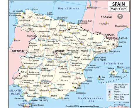 spain three cities buy map of spain with major cities
