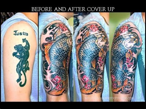 tattoo cover up colors cover up with color koifish youtube