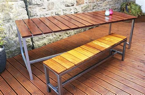 outdoor dining table and bench bespoke tables urban metal works