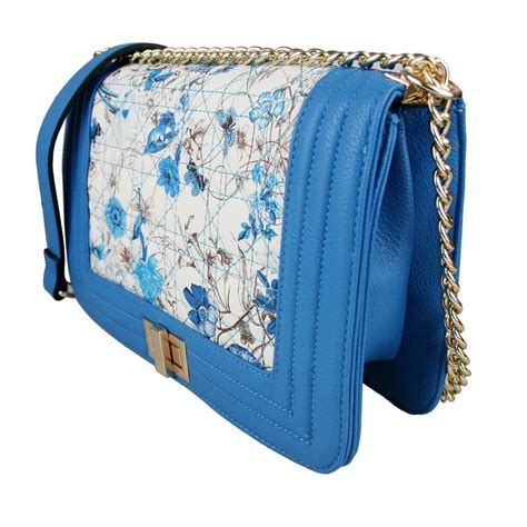 Chains Printed Satchel Blue l1424 miss lulu quilted floral satchel blue