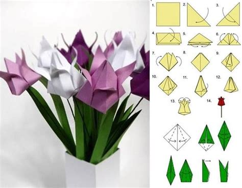 Origami Tulips - how to diy origami tulip crafts quilling