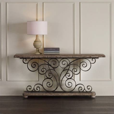 furniture metal scroll console table in weathered