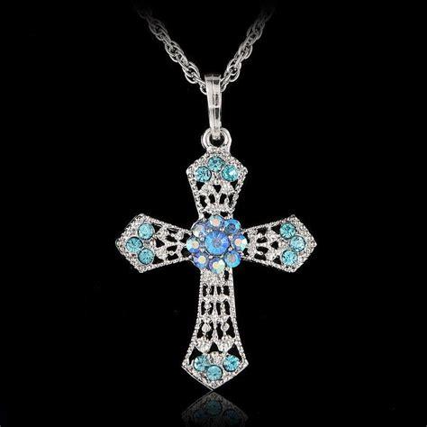 Murah Necklace Kalung Silver Cross silver cross inlay rhinestone pendant necklace sweater chain ebay