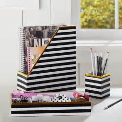 Pottery Barn Office Organizer Printed Desk Accessories Black White Stripe With Gold