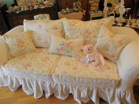 shabby chic ruffle slipcovered sofa chenille bedspread white roses eclectic sofas new york