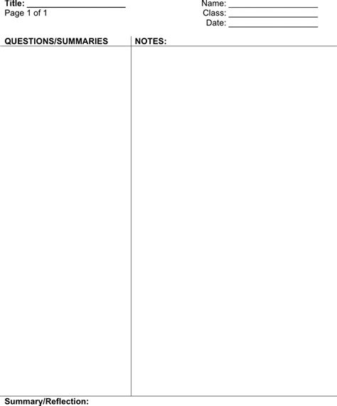 cornell notes template download free premium templates