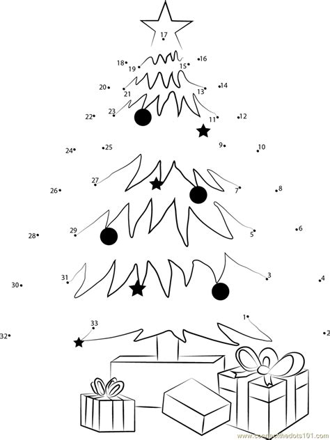 connect the dots christmas tree tree decorating and gifts dot to dot printable worksheet connect the dots