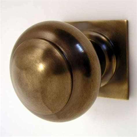centre door knob square antique brass unlacquered