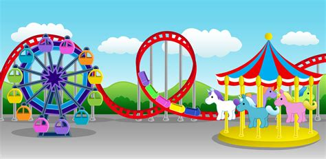 theme park vector amusement park clipart children party pencil and in