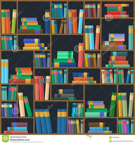 pattern of library vector of library book background seamless pattern stock