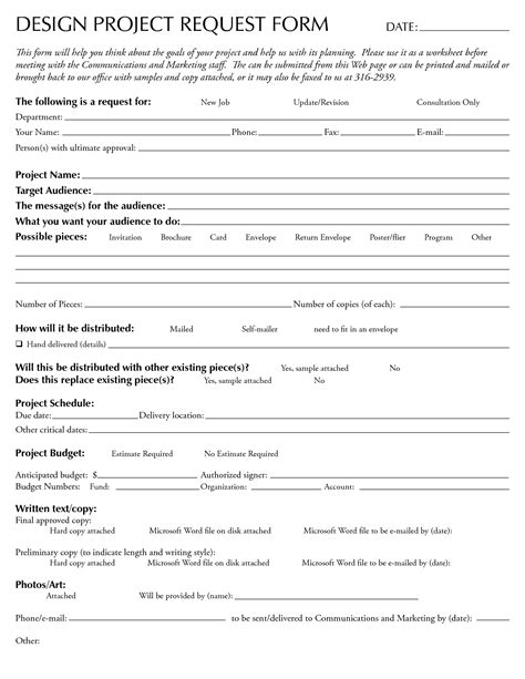 design request form template 7 best images of design request template time