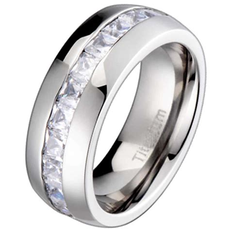 Wedding Ring Cubic Zirconia by New Titanium Princess Cubic Zirconia Mens Wedding Ring
